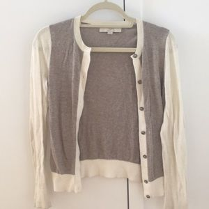 Cream and brown two tone cardigan
